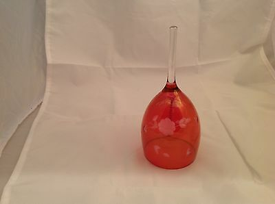 "Vintage Etched Cranberry Flash Glass Bell 6.5"" Tall Floral Design"