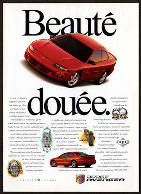1997 DODGE Avenger Vintage Original Print AD - Red coupe car photo French Canada