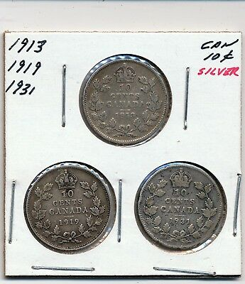 1913, 1919 And 1931 Canada Silver 10 Cents - 3 Coins