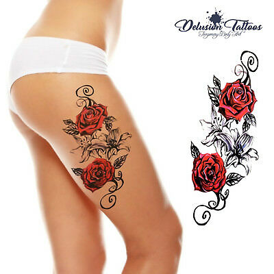 Temporary Tattoo, Rose,Red Roses, Lilies, Flower  - Womens, Girls, Kids, Fake