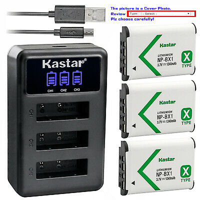 Kastar Battery Triple Charger for Sony NP-BX1 Sony FDR-X1000V FDR-X3000 HDR-AS10