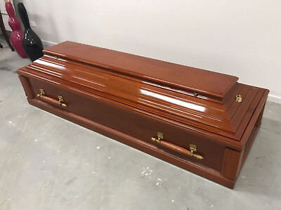 NEW Hand Made Mahogany Mahoni Burial Coffin Casket RRP-$5,325 FREIGHT AVAILABLE