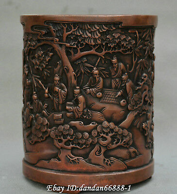 Collect Chinese old bronze old man play chess beautiful woman scenery brush pot