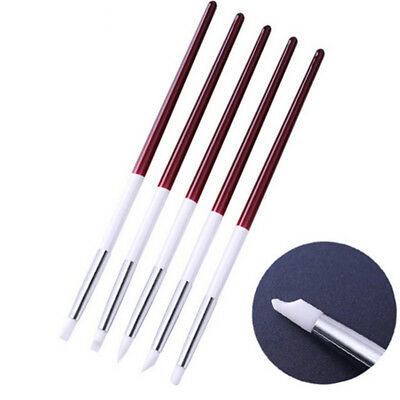 LC_ 5Pcs Silicone Nail Art Sculpture Carving Pen Shaping Painting Brushes Natu