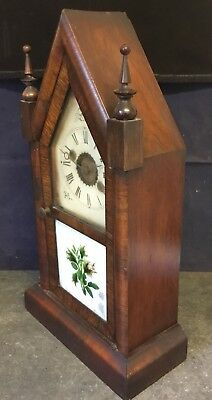 """Antique American Striking Mantle Clock Rosewood Case 16"""" a/f For Restoration"""