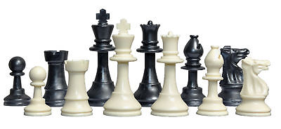 "Solid Regulation Plastic Chess Set - Pieces Only - 3.75"" King - Black & White"