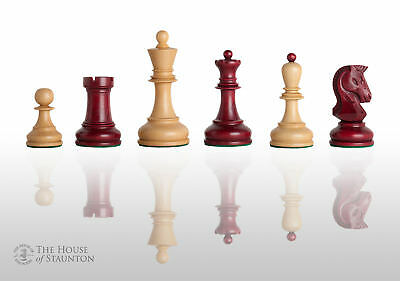 "The Dubrovnik Chess Set - Pieces Only - 3.75"" King - Red Mahogany Gilded"