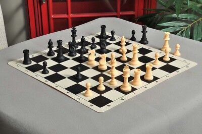 "Regulation Silicone Tournament Chess Set - Pieces Only - 3.75"" King - Black & Na"