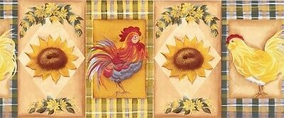 Country Rooster Chicken Sunflower Roosters Plaid Kitchen Wallpaper Border