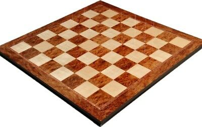 "Elm Burl & Maple Superior Traditional Chess Board - 2.5"" Squares"