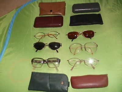Job Lot Of 6 Pairs Of Old  Spectacles Glasses Ideal Film Set Theatre  With Cases