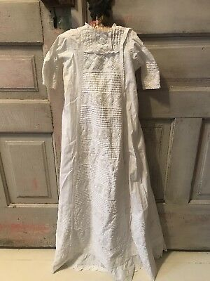 BEST~1800s Antique Victorian Baby CHRISTENING GOWN~Broderie Anglaise Trapunto