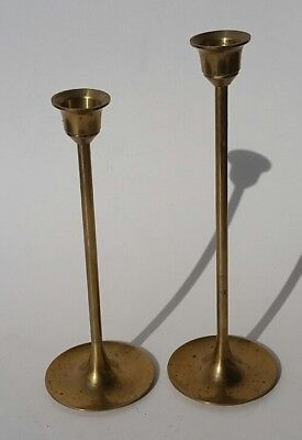 """2 Vintage Graduating Brass Taper Candle Stick Holders 7"""" 7 3/4"""""""