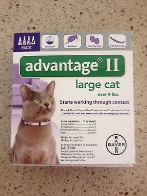 Advantage Ii For Large Cats 4Pack Over 9 Lbs Newest Sealed Box Epa Approved Usa
