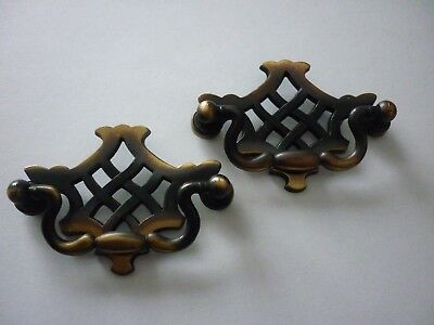 Brass Furniture Handles 2 x Vintage Brass Drop Drawer Pull Handles