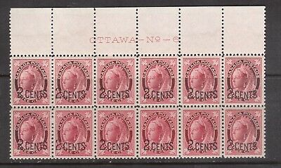 Canada #87 #87ii Extra Fine Mint Never Hinged Plate #6 Block Of 12