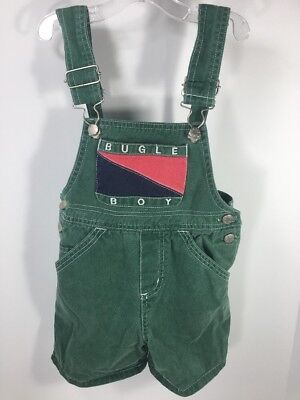 Youth Vintage 80s BUGLE BOY Green Cotton Overalls Shorts (2T) Toddler