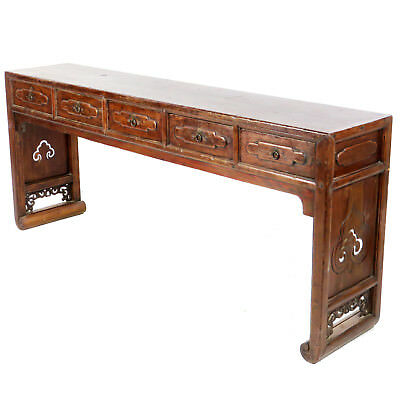 "Antique Chinese 78"" Long 5 Drawer Console Sofa Table w Scroll Foot End Panels"