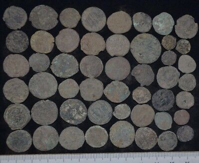 Lot of 50 Ancient Roman Bronze coins. Roman Imperial, c 235-476 AD. Detector