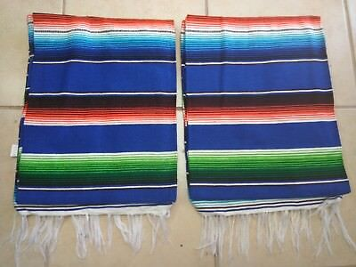 TWO PIECE SERAPE SET ,5' X 7',Mexican Blanket,HOT ROD, Covers, XXL , BRIGHT BLUE