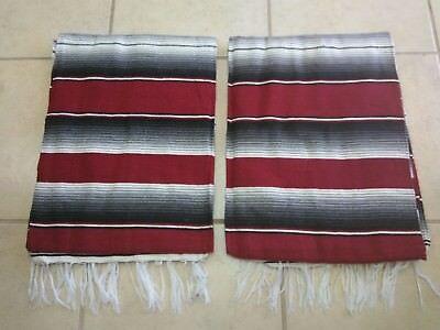TWO PIECE SERAPE SET ,5' X 7',Mexican Blanket,HOT ROD, Covers, XXL, BURGUNDY MIX