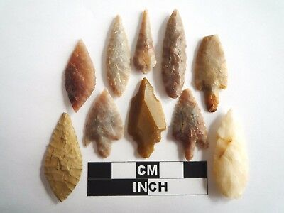 Neolithic Arrowheads x 10, High Quality Selection of Styles - 4000BC - (1069)