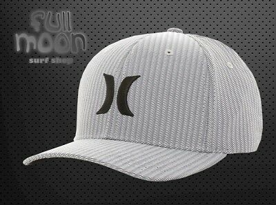 brand new 0bc0a 39ff2 New Hurley Iconic Gray Wave Suits Dry Fit Mens Flex Fit Cap Hat