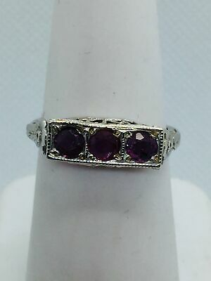 14k Solid White Gold Genuine Ruby Antique Style Ring