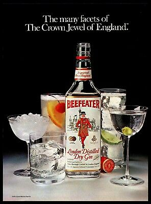 1982 Beefeater Vintage PRINT AD London English Dry Gin Bottle Glasses 1980s