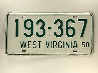1958 West Virginai License Plate