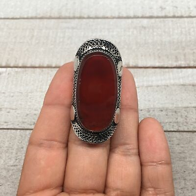 Antique Afghan Turkmen Ring Tribal Boho Oval Carnelian Kuchi Ring Statement,TR55