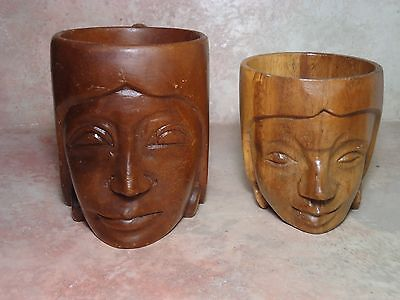 Pair Vintage Hand Carved Wood Antique Decorative Beer Mug/Cups Bust Head Figure