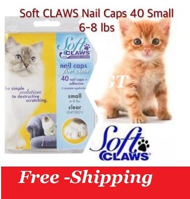 Soft Claws Nail Caps for Cats kitten  Clear Size Small 6-8 lbs Free -Shipping