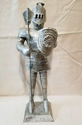 Vtg Metal Tin Knight Suit Of Armor Statue Figure Mexico Nice!!