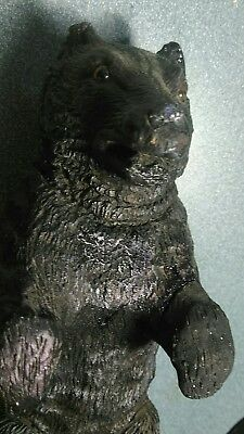 Antique Black Forest c. 1900 Figurial  Wood Carved Black Bear  Glass Eyes 10.5""