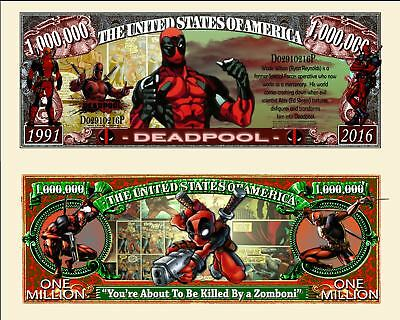 Deadpool Million Dollar Bill **Novelty Money** FREE Sleeve