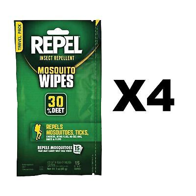 Repel Insect Repellent Mosquito Wipes 30% DEET Unscented Ticks (4-Pack of 15)