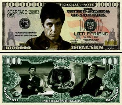 Scarface Tony Montana Million Dollar Bill **Novelty Money** FREE Sleeve