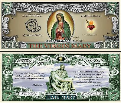 The Virgin Mary Million Dollar Bill **Novelty Money** FREE Sleeve