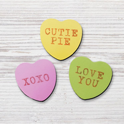 Roeda Studio 3 Pack Conversation Hearts Valentines Candy Magnets