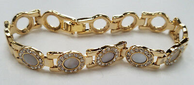 Circle Gold Tone Crystal Mother of Pearl Look Fashion Bracelet  Lady Girls NEW