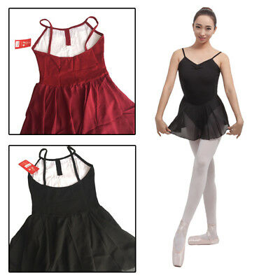 Adult Girl Ballet Dance Leotard Gymnastic Dance Wear (Sleeveless, Cotton Lace,Bl