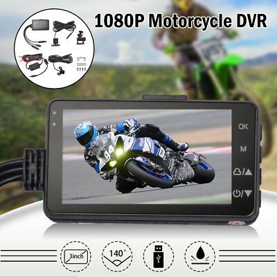 "3"" LCD Motorcycle Camera DVR 140° Dash Cam with Dual Front Rear Recorder MA1543"