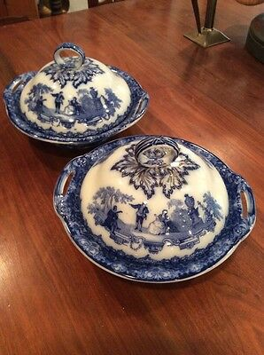 Matched pair Doulton Watteau covered vegetable dishes