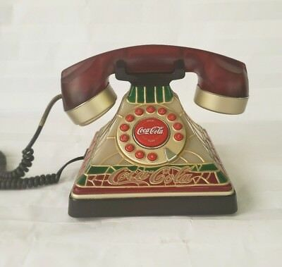 """Coca-Cola - 2001 """"Tiffany"""" Style Stained Glass Look Telephone Red Not Tested"""