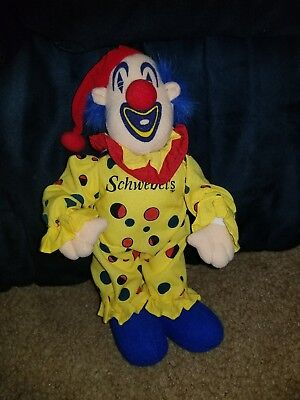 """Vintage Schwebel's Bakery 10"""" colorful cloth CLOWN - Youngstown Ohio- VGC"""
