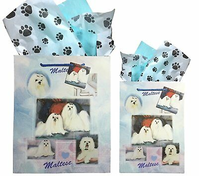 New Maltese Gift Bags Set of Two with Tissue Paper By Ruth Maystead