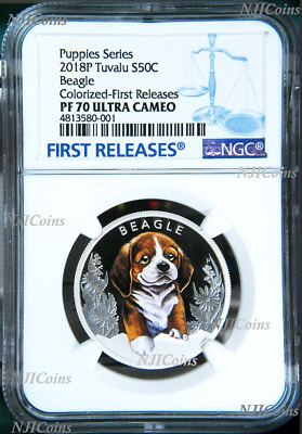2018 Puppies Beagle Tuvalu PROOF Silver NGC PF 70 1/2oz Coin Lunar Year DOG FR