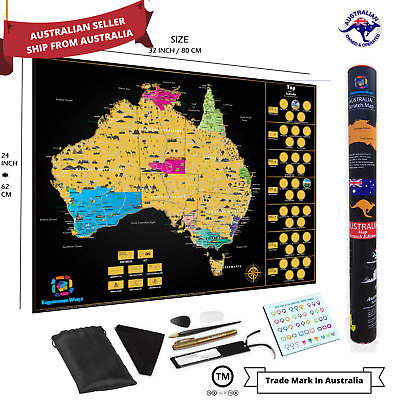 Large Deluxe Scratch Off Map Of Australia Poster Travel FREE EXPRESS DELIVERY