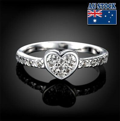 Classic 925 Sterling Silver Filled Clear Zircon Crystal Love Heart Band Ring